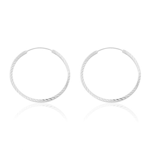 Sterling Silver Hoop Earrings, Silver wt. 3.63 Gms.