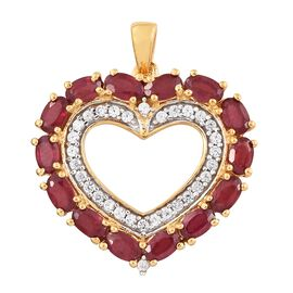 African Ruby (Ovl), Natural Cambodian Zircon Heart Pendant in 14K Gold Overlay Sterling Silver 5.500 Ct.