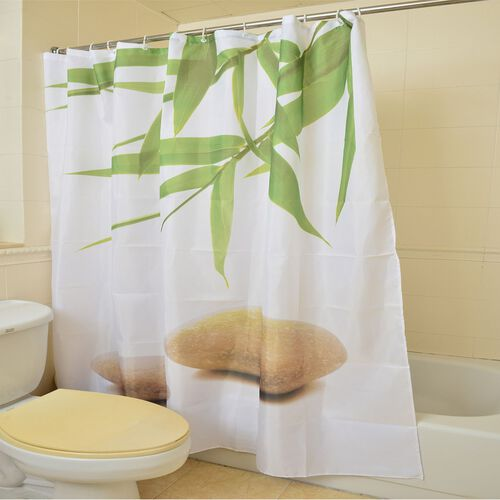 Green and White Colour Bamboo Leaves and Shell Pattern Water Proof Shower Curtain with 12 Plastic Hooks (Size 180X180 Cm)