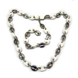 Natural Ceramic Bracelet (Size 8) and Necklace (Size 20) Set in Silvertone