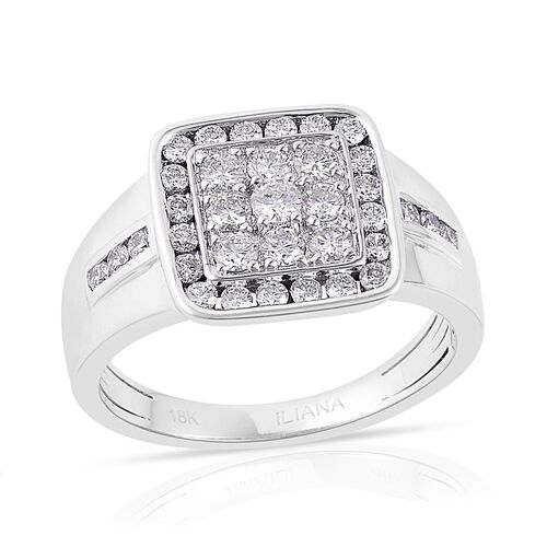 ILIANA 18K White Gold 1 Carat Cluster IGI Certified Diamond SI/G-H Ring