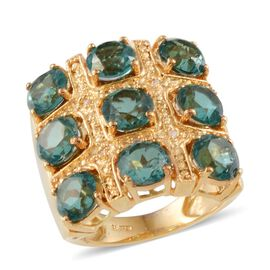 Paraiba Colour Quartz (Rnd), Diamond Ring in ION Plated 18K YG Bond 9.780 Ct.