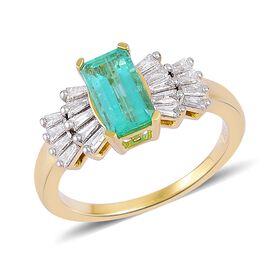 ILIANA 18K Yellow Gold 1.50 Ct AAA Boyaca Colombian Emerald Ring with Diamond SI G-H
