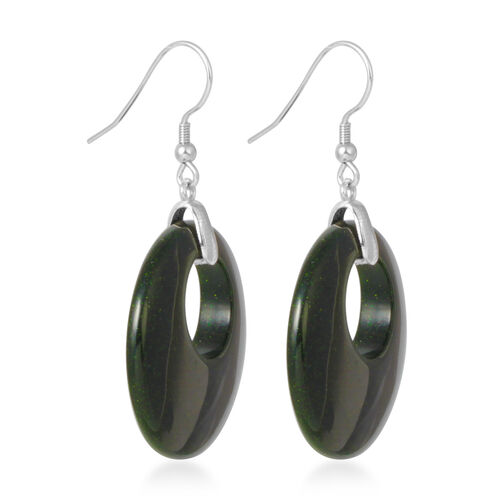 Green Sandstone Oval Hook Earrings in Rhodium Plated Sterling Silver.