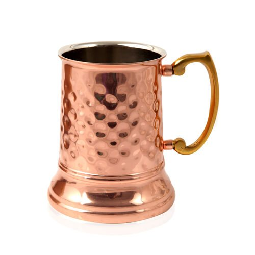 (Option 1) Home Decor Hammered Tankard Mug in Rose Gold Tone