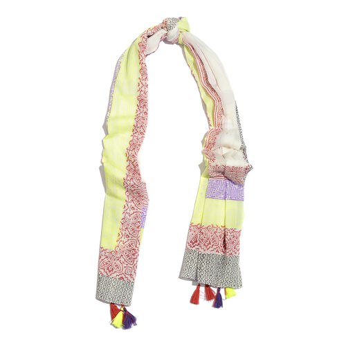 100% Cotton Hand Block Printed Yellow, White, Purple, Red and Multi Colour Pareo with Tassels (Size 180x100 Cm)