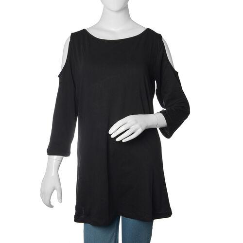 New for Season - 100% Cotton Black Colour Cutout Shoulder Top (Size 75X50 Cm)