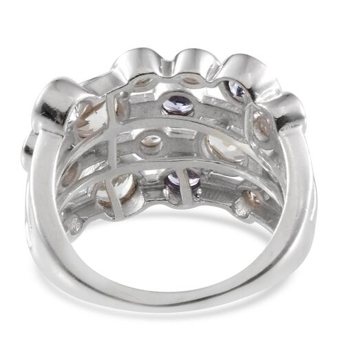 Tanzanite (Rnd), White Topaz Ring in Platinum Overlay Sterling Silver 3.750 Ct.