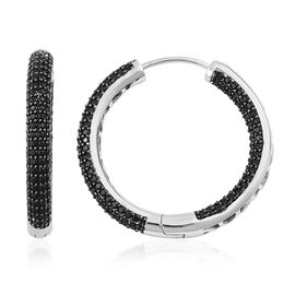Boi Ploi Black Spinel Hoop Earrings (with Clasp) in Rhodium Plated Sterling Silver 4.000 Ct.