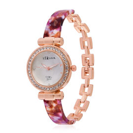 STRADA Japanese Movement White Austrian Crystal Studded White Dial Watch in Rose Gold Tone with Stainless Steel Back and Multi Colour Strap