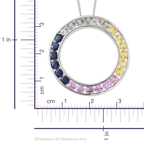 Yellow Sapphire (Rnd), Green Sapphire, Kanchanaburi Blue Sapphire and Pink Sapphire Circle of Life Pendant with Chain in Platinum Overlay Sterling Silver 3.000 Ct.