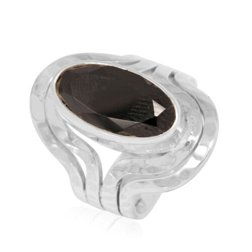 Royal Bali Collection Boi Ploi Black Spinel (Ovl) Solitaire Ring in Sterling Silver 6.220 Ct.