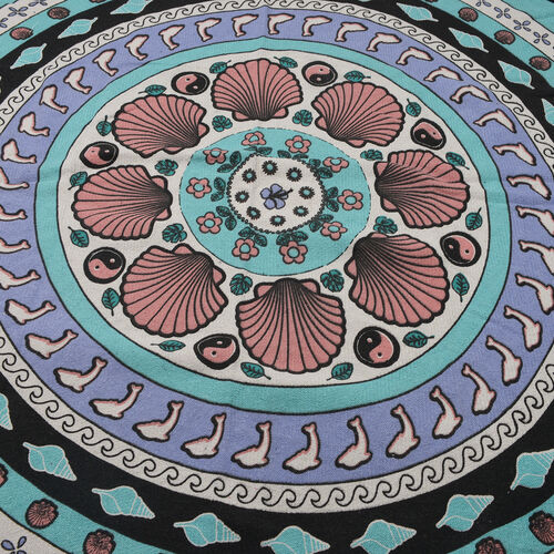 100% Cotton Black, Green and Multi Colour Shells Printed Round Beach Rug with Fringes (Size 140 Cm Diameter)