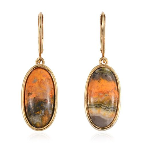 Bumble Bee Jasper (Ovl) Lever Back Earrings in 14K Gold Overlay Sterling Silver 13.750 Ct.