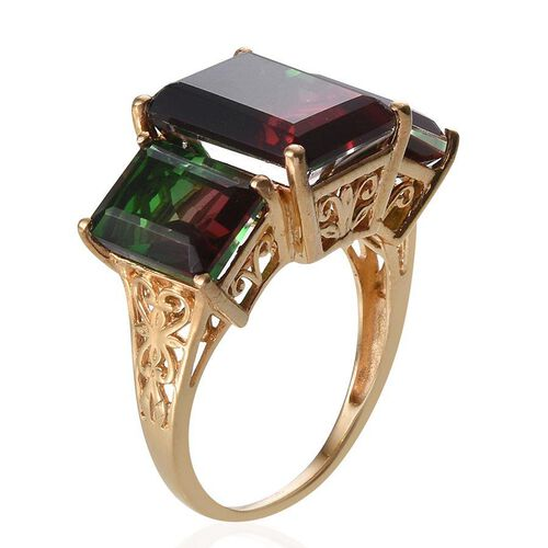 Tourmaline Colour Quartz (Oct 7.50 Ct) 3 Stone Ring in 14K Gold Overlay Sterling Silver 14.500 Ct.