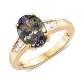 ILIANA 18K Yellow Gold AAA Green Tanzanite (Ovl 3.28 Ct), Diamond (SI/G-H) Ring 3.500 Ct.