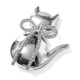 AAA White Austrian Crystal (Rnd) and White Simulated Diamond Cat Brooch in Silver Plated.