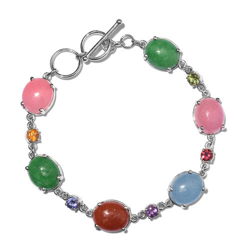 Pink, Blue, Red, Green Jade (Ovl) and Multi Gem Stone Bracelet (Size 7.5) in Platinum Overlay Sterling Silver 36.000 Ct.
