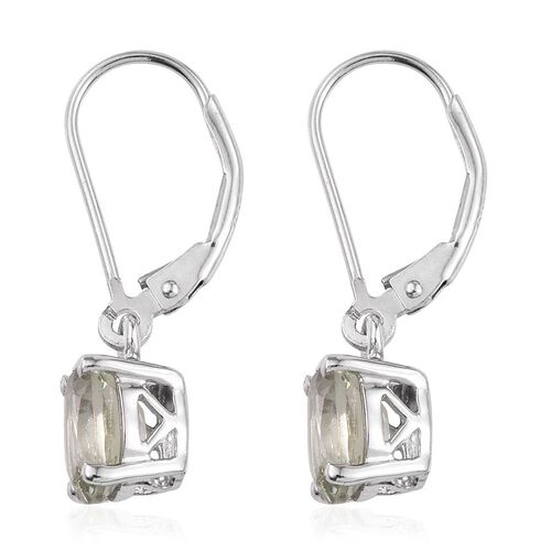 Green Amethyst (Ovl) Lever Back Earrings in Platinum Overlay Sterling Silver 2.250 Ct.