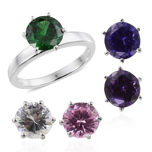 AAA Simulated Emerald (Rnd), Simulated Amethyst, Simulated Tanzanite, Simulated Pink Sapphire and Simulated Diamond Interchangeable Ring in Sterling Silver