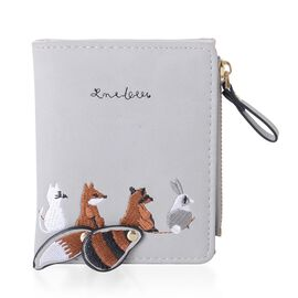 Chocolate, Grey and White Colour Animal Pattern Ladies Wallet (Size 11.2x9x1 Cm)