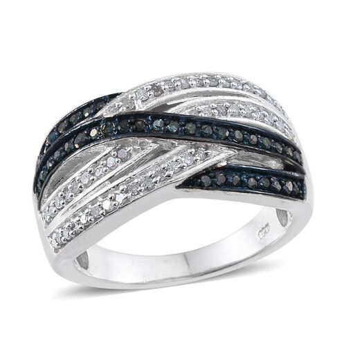 Blue Diamond (Rnd), White Diamond Criss Cross Ring in Sterling Silver 0.500 Ct.