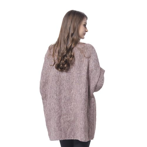 Pink, White and Grey Colour Knitted Cape (Free Size)