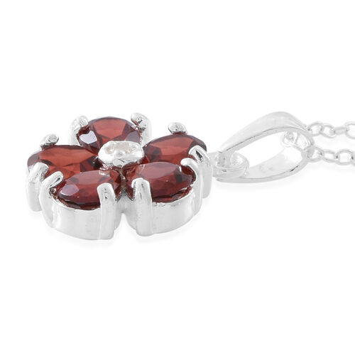 Mozambique Garnet (Pear), Natural White Cambodian Zircon Floral Pendant with Chain in Sterling Silver 2.500 Ct.
