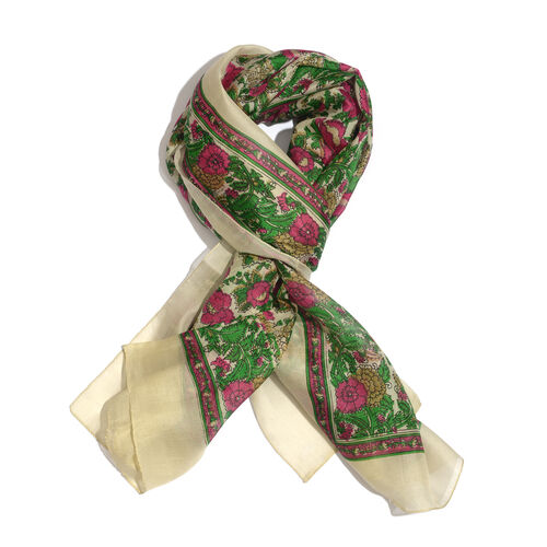 100% Mulberry Silk Green, Pink and Multi Colour Floral Pattern Gold Colour Scarf (Size 175x100 Cm)
