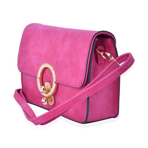 Fuchsia Colour Crossbody Bag with Adjustable and Removable Shoulder Strap (Size 23.5x15.5x7.5 Cm)