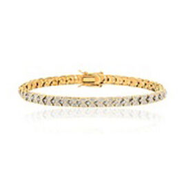 (Option 2) One Time Deal - JCK Vegas Collection Diamond (Rnd) Bracelet (Size 7.5) Gold Bond