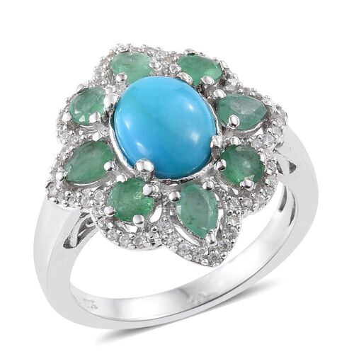 Arizona Sleeping Beauty Turquoise (Ovl 1.55 Ct), Kagem Zambian Emerald and Natural Cambodian Zircon Ring in Platinum Overlay Sterling Silver 3.000 Ct.