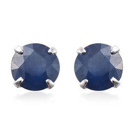 9K White Gold 1 Carat AA Kanchanaburi Blue Sapphire Solitaire Stud Earrings (with Push Back)