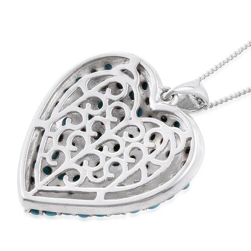 Arizona Sleeping Beauty Turquoise (Rnd) Cluster Heart Pendant with Chain in Platinum Overlay Sterling Silver 3.750 Ct.