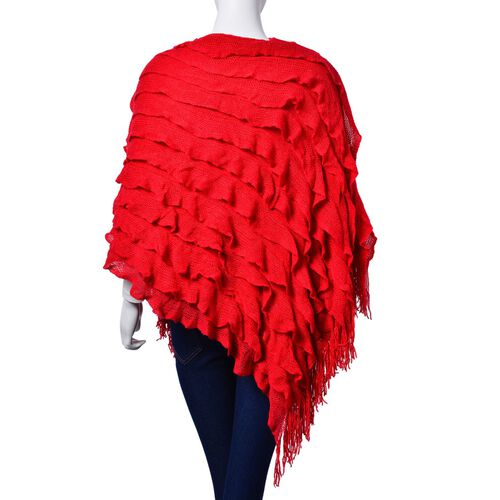 Red Colour Lace Pattern Poncho with Tassels (Free Size)