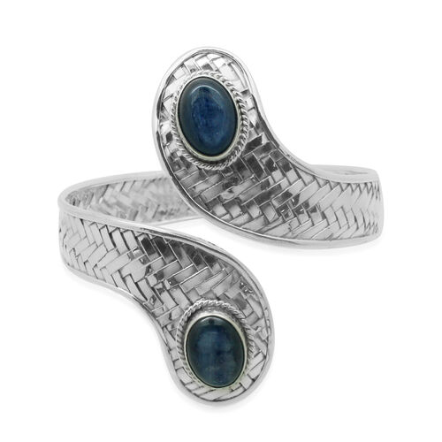 Royal Bali Bamboo Weave Collection Himalayan Kyanite (Ovl) Bangle (Size 7.5) in Sterling Silver 11.800 Ct.