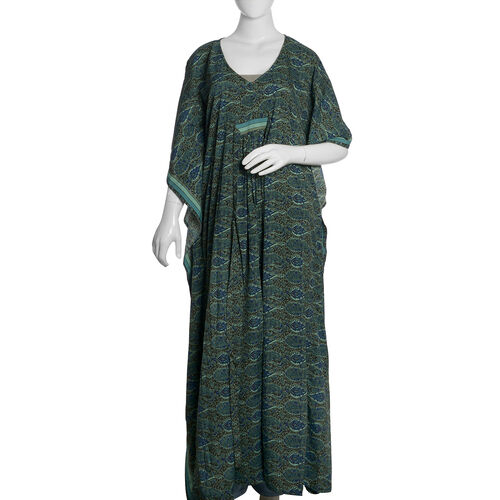 Green, Blue and Multi Colour Paisley Pattern Long Kaftan (Free Size)