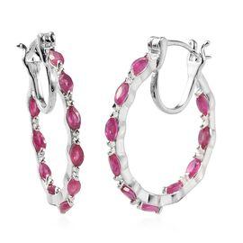 AAA African Ruby (Mrq) Hoop Earrings in Sterling Silver 2.250 Ct.