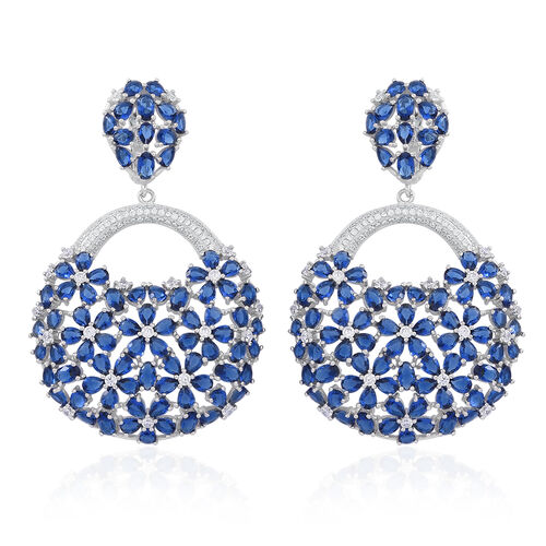 Red Carpet Collection- ELANZA AAA Simulated Blue Sapphire (Ovl), Simulated White Diamond Floral Earrings in Rhodium Plated Sterling Silver