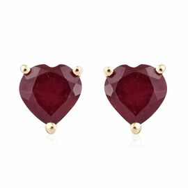 2.15 Ct African Ruby Heart Stud Earrings in 9K Gold (with Push Back)