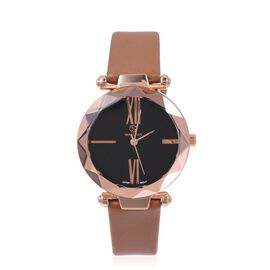 STRADA Japanese Movement Water Resistant Watch in Rose Gold Tone with Brown Colour Strap.