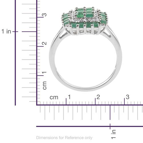 Kagem Zambian Emerald (Sqr), Natural Cambodian Zircon Ring in Platinum Overlay Sterling Silver 1.500 Ct.