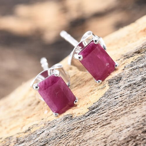9K White Gold AA Burmese Ruby (Oct) Stud Earrings (with Push Back) 1.300 Ct.