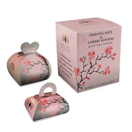 THE ENGLISH SOAP COMPANY- Luxury Guest Soaps 3x20g, Large Gift Soap 260g and Pure Soy Wax Candle Oriental Spice and Cherry Blossom- Estimated delivery 5-7 working days