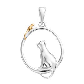Cat and Mouse Silver Pendant in Platinum and Yellow Gold Overlay