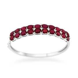 African Ruby (Ovl), White Topaz Bangle (Size 7) in Sterling Silver 23.990 Ct.