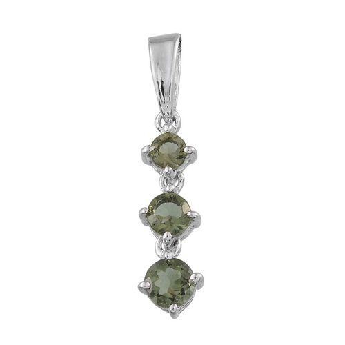 Bohemian Moldavite (Rnd) 3 Stone Pendant in Platinum Overlay Sterling Silver 0.500 Ct.