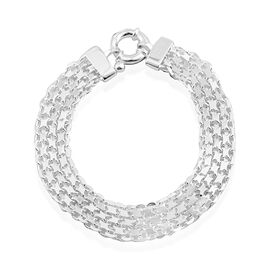 Vicenza Collection Sterling Silver Multi Row Bismark Bracelet (Size 7.5), Silver wt. 10.00 Gms.