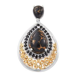 Arizona Mojave Black Turquoise (Pear), Boi Ploi Black Spinel Pendant in Platinum and Yellow Gold Overlay Sterling Silver 13.000 Ct. Silver wt. 7.34 Gms.