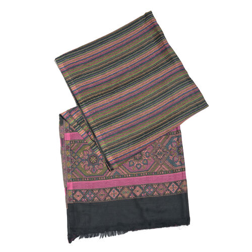 Black, Fuchsia and Multi Colour Wavy Stripes Pattern Jacquard Scarf with Fringes (Size 200X70 Cm)